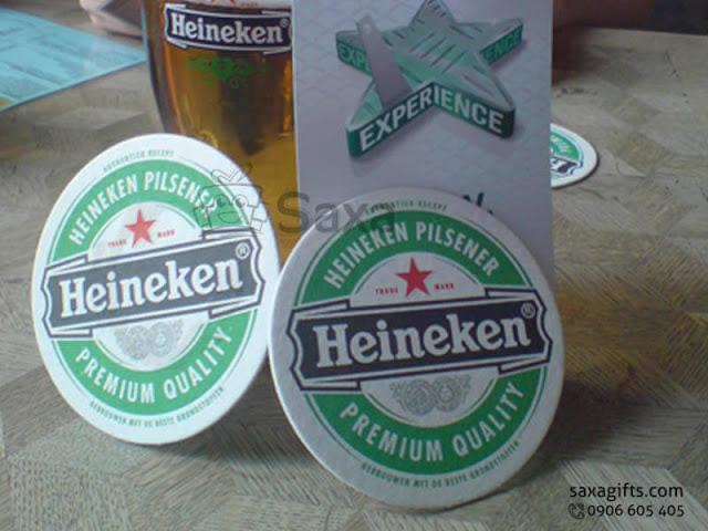 Lót ly giấy in logo Heneiken beer hình tròn – LL009