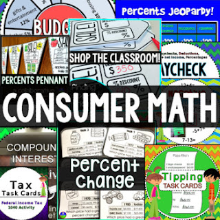 Consumer Math activities bundle for teaching financial literacy