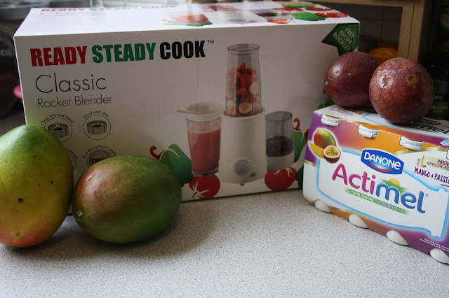 A promotional parcel compliments of Actimel with yogurt, fresh fruit and a smoothie maker