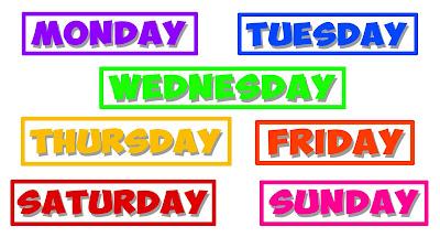 Pagi ini penulis ingin share mengenai bahan  Materi Bahasa Inggris SMP: Days of the week (Hari)