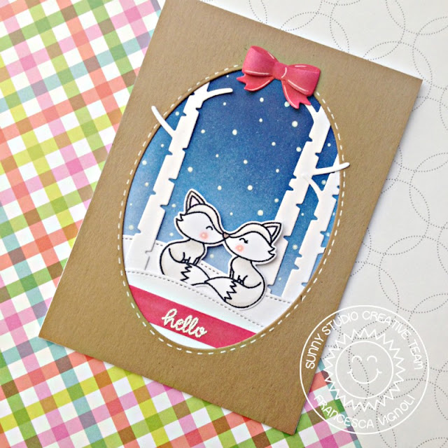 Sunny Studio Stamps: Foxy Christmas Rustic Winter Stitched Ovals Arctic Fox Winter Themed Cards by Franci Vignoli