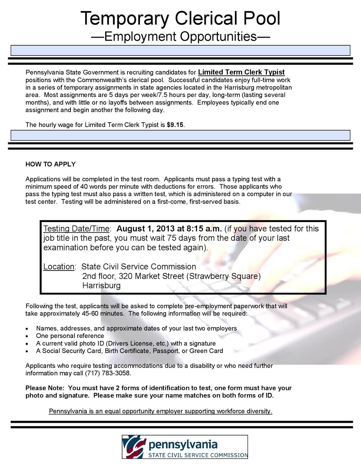 August 2013 Clerical Pool Testing - Limited Term State Clerk Typist Jobs in  Harrisburg Area