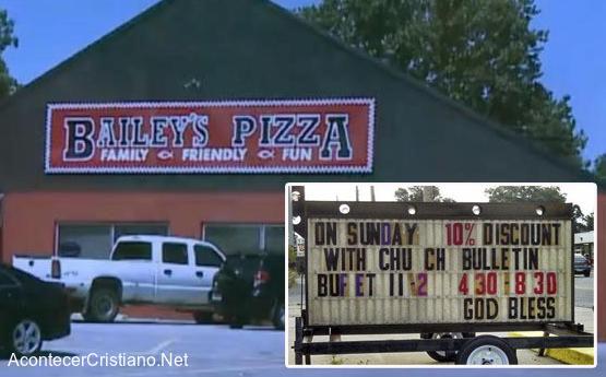 Pizzería hace descuento a cristianos que asisten a la iglesia