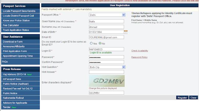 register user name