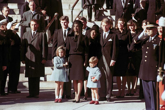 The First Family watches John F. Kennedy's funeral procession in Washington on November 25, 1963, three days after the president was assassinated in Dallas. Widow Jacqueline Kennedy, center, daughter Caroline Kennedy, left, and son John Jr., are accompanied by the late president's brothers Sen. Edward Kennedy, left, and Attorney General Robert Kennedy.