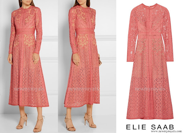 Queen Maxima wore ELIE SAAB Cotton blend Lace Dress