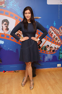 Actress Mannara Chopra Stills in Blue Short Dress at Rogue Song Launch at Radio City 91.1 FM  0097.jpg