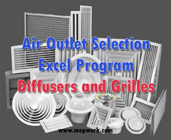 Air Outlet Selection Excel Program - Diffusers and Grilles