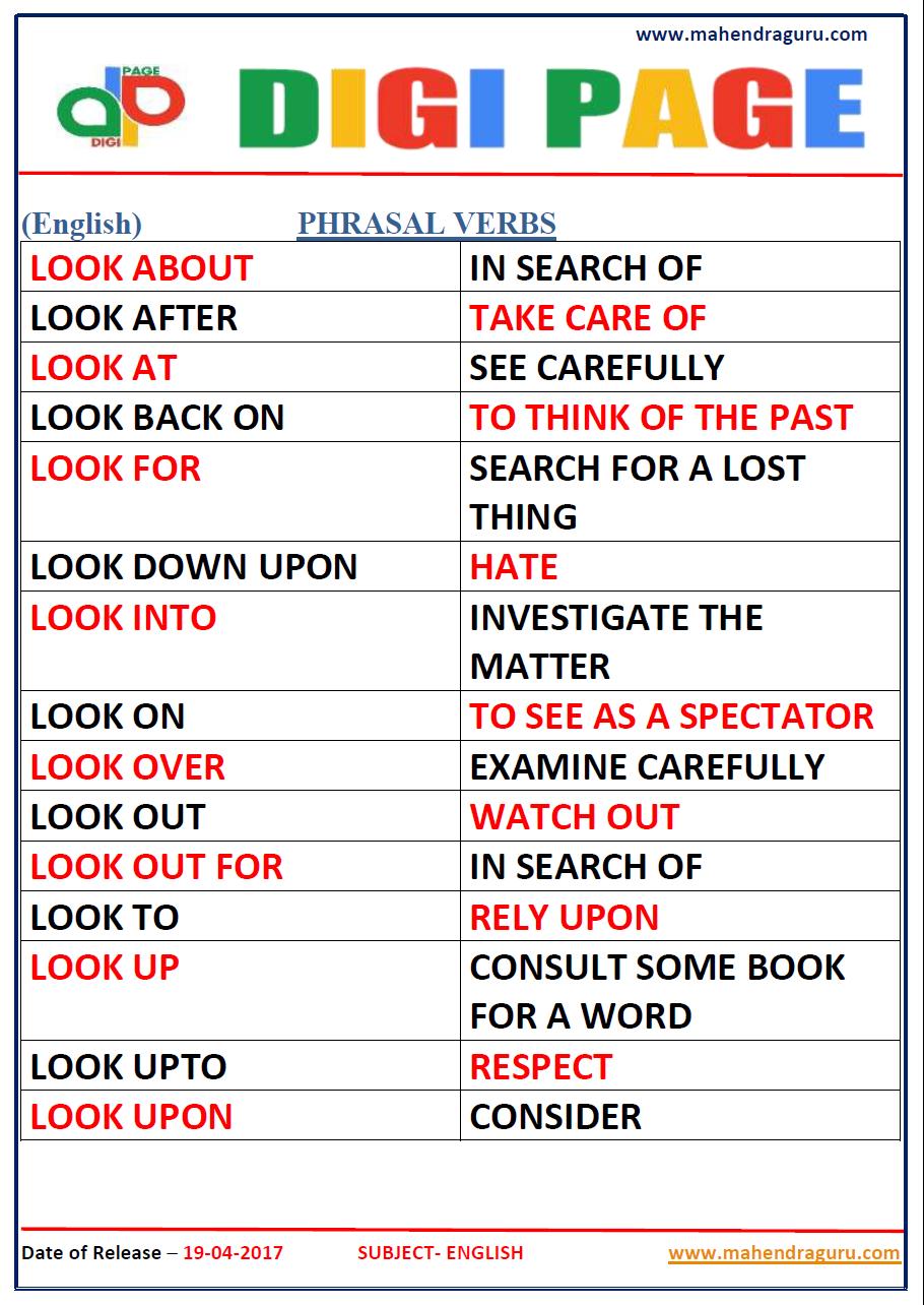 List pdf verbs phrasal