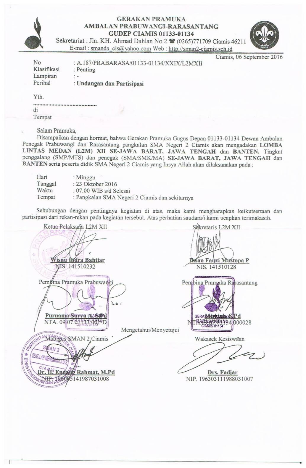 Contoh Surat Undangan Lomba Pramuka Suratmenyurat Net