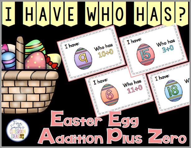 I Have, Who Has? Easter Eggs Addition Plus One Cards, Teacher Directions and a Teacher Answer Key. This I Have, Who Has? Resource Includes:  1 Teacher Direction Sheet  1 Teacher Answer Key  20 Cards with Cute Easter Egg Numbers Clipart and Addition Plus 0 Facts (1-20) with Easter Egg Themed  Numbers in Mixed Order  Terrific for an Emergency Substitute Tub, Folder or Binder! at Fern Smith's Classroom Ideas TeacherspayTeachers Store.