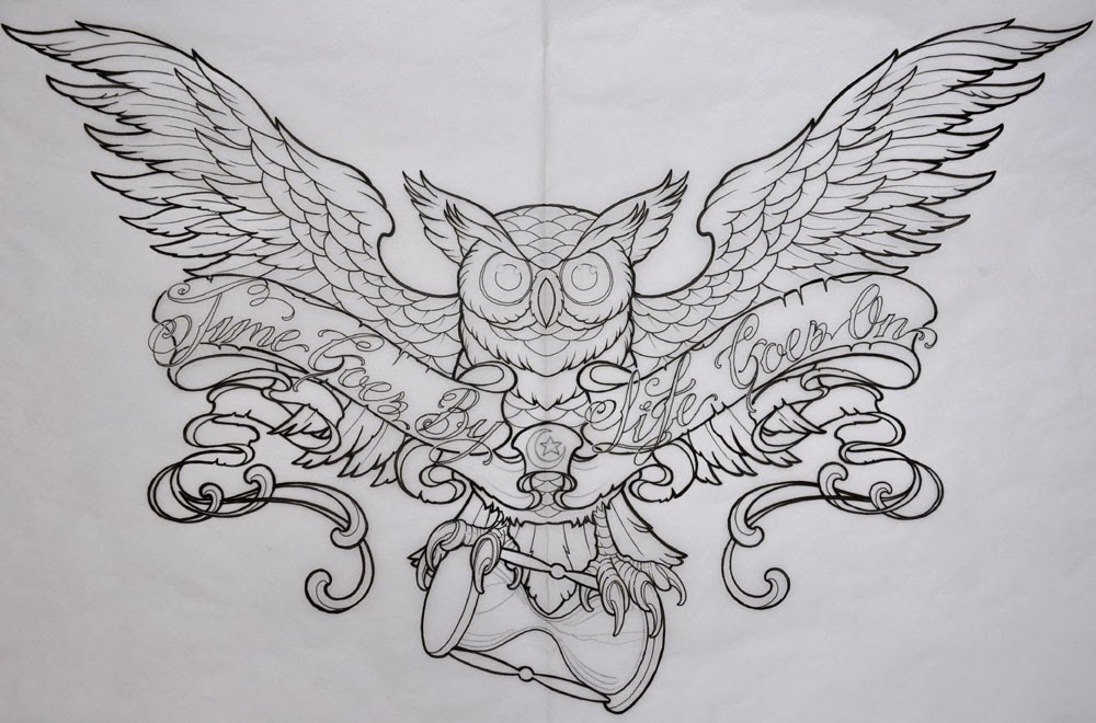 Owl and hour glass tattoo stencil