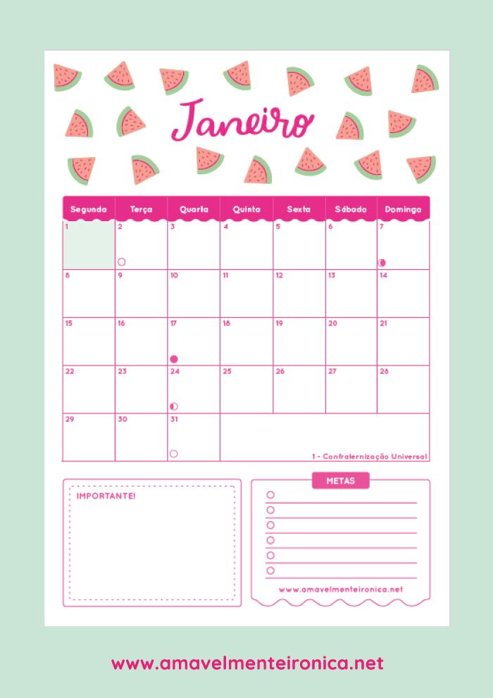 Planner mensal 2018 - Amavelmente Irônica