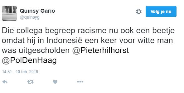 Agent 8183 van @PolDenHaag aan @Quinsyg: Wat doet in Den Haag?