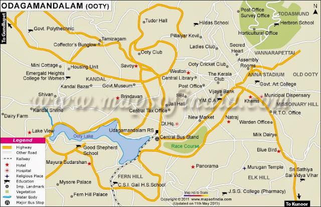 Tamilnadu Tourism Ooty Maps