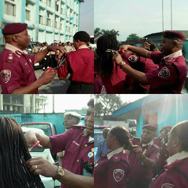 "Rivers State's FRSC commander instills ""discipline"" by cutting the hair of some female staff"