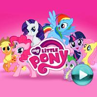 """My Little Pony - naciśnij play, aby otworzyć stronę z odcinkami serialu animowanego """"My Little Pony"""" (odcinki online za darmo)"""