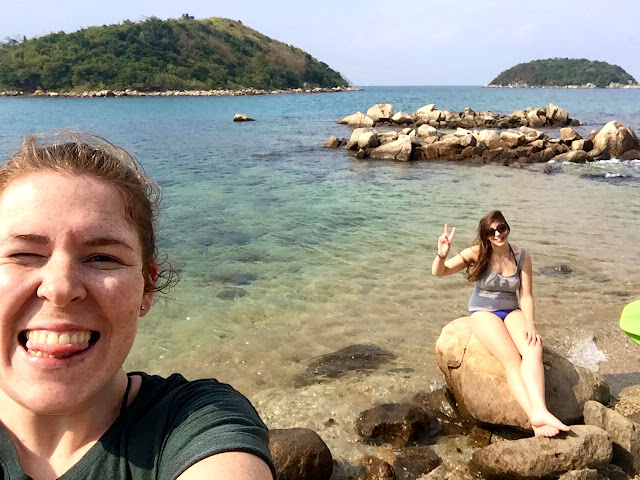 Selfie posing on the deserted island while kayaking at Hoi Ha, Sai Kung Peninsula, Hong Kong