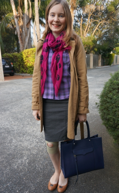 Office wear grey pencil skirt purple plaid shirt magenta skull scarf RM MAB tote bag
