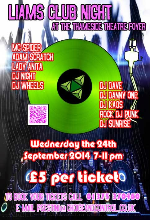 Liams Club Night for TLS, Wednesday the 24th September 2014 7-11pm. Picture of a green record over wavey lines and a DJ rig. TLS logo in the record.
