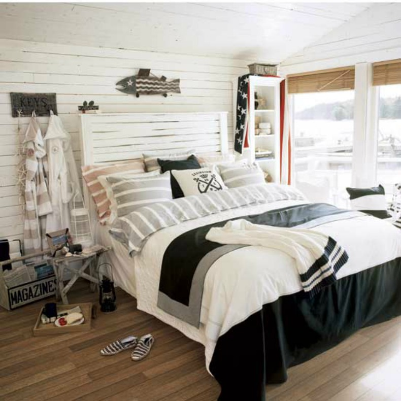 coastal nautical white wash bedroom with great nautical style pillows