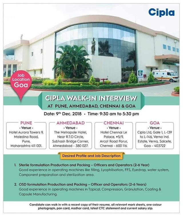 Cipla walk-in interview - Pune, Ahmadabad, Chennai and Goa