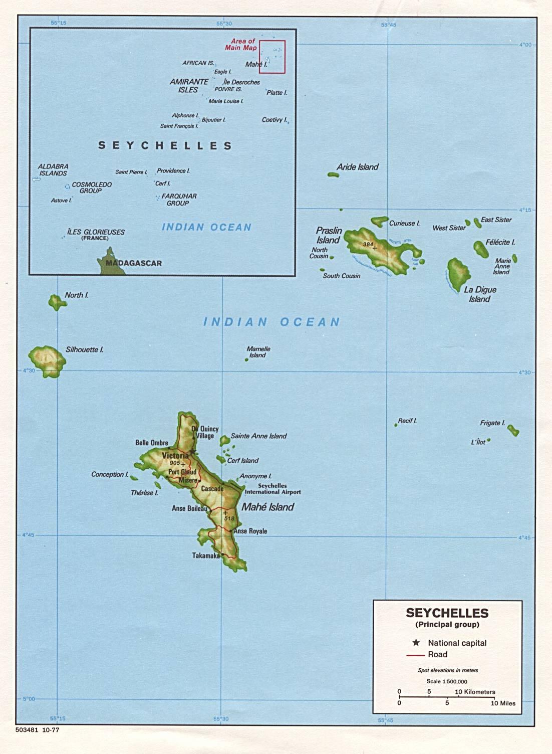 Seychelles | Mapas Geográficos das Ilhas Seychelles