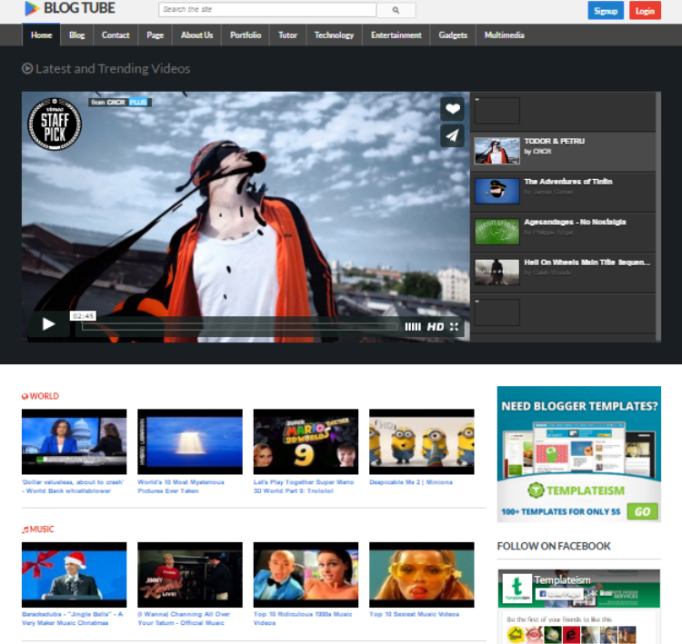 BlogTube Professional Responsive Blogger Template