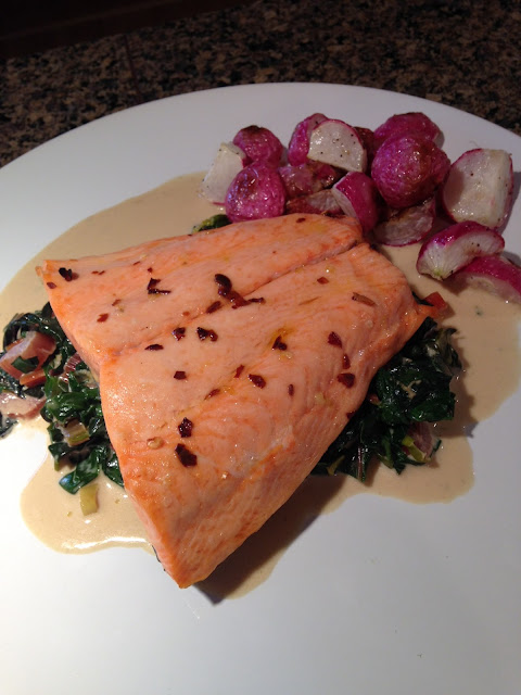 Roasted Salmon with Creamy Greens & Roasted Radishes