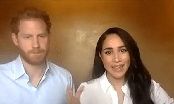 Meghan Markle wore Edge of Ember visionary charm gold necklace and wore Jigsaw Misha Nonoo the smart set shirt. Prince Harry