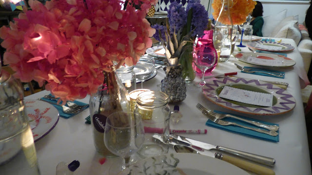 A colourful dining table at Christabel's, London