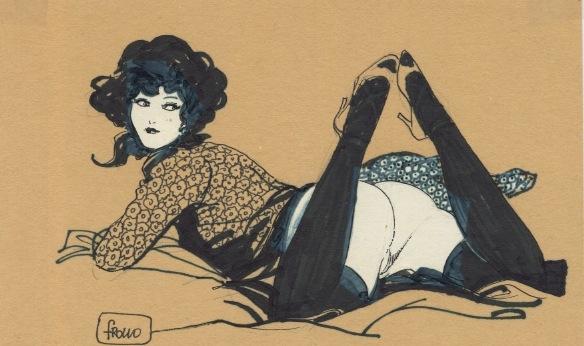 Dibujo de mujer desnuda con cabello negro. Leone Frollo