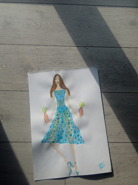 #Makingof a #FashionIllustration: A Girl In a #Transparent #Blue #Dress