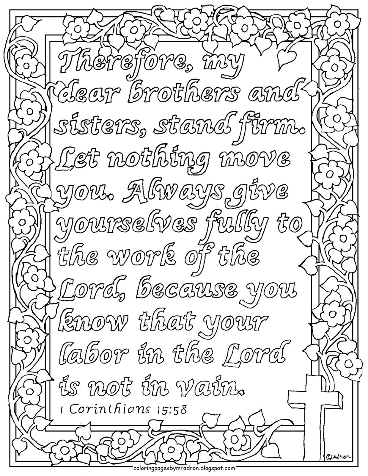 Coloring Pages For Kids By Mr Adron 1 Corinthians 15 58 Print And Color Bible Verse Your