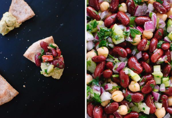 Toasted Pita Bread And Pinto Bean Salad
