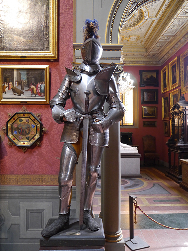 A full suit of armour standing in the Stibbert Museum in Florence, Italy