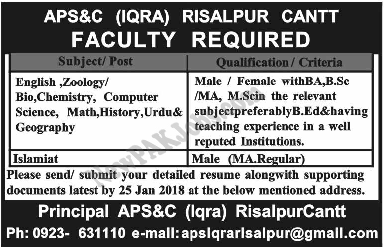 New Faculty required in Risalpur Cantt Sunday Jobs 2018