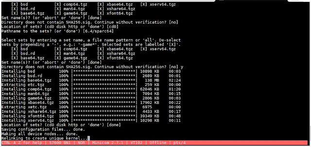 Supratim Sanyal's Blog: IInstalling OpenBSD SPARC 64-bit for Sun UltraSPARC using QEMU in SANYALnet Labs - Installation Screen #3
