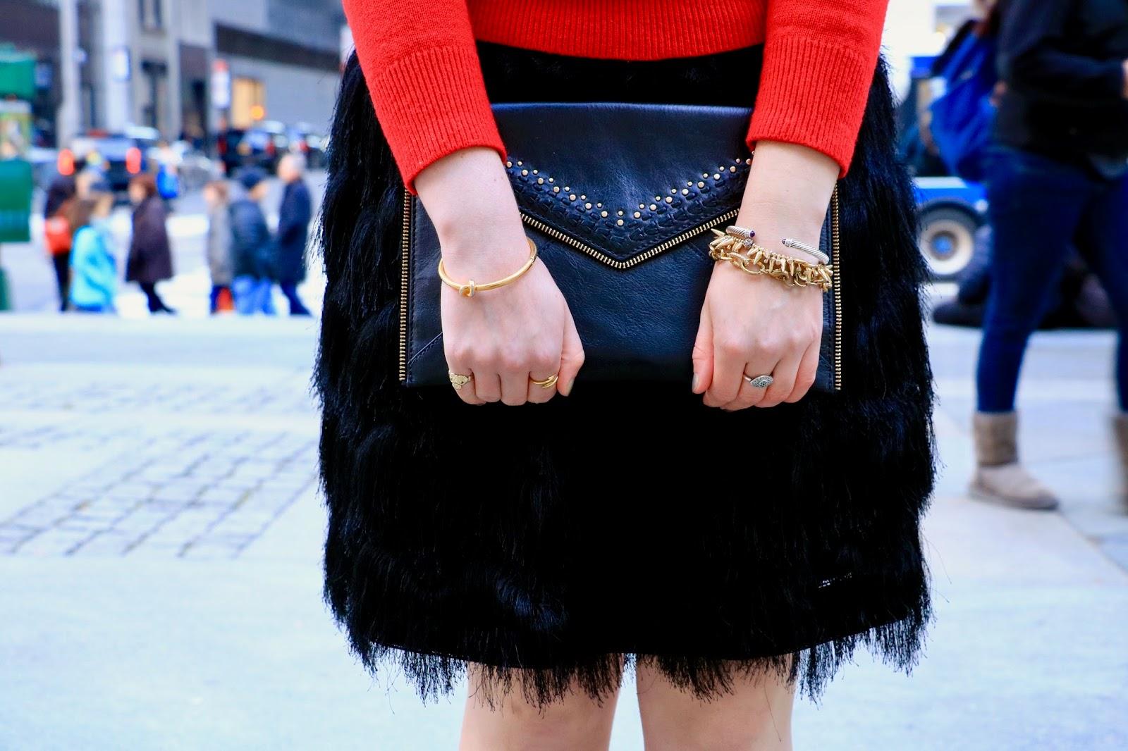 rebecca minkoff black gold clutch