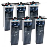 Banco de baterías de 6 baterías de 2 Vcc para conseguir 12Vcc