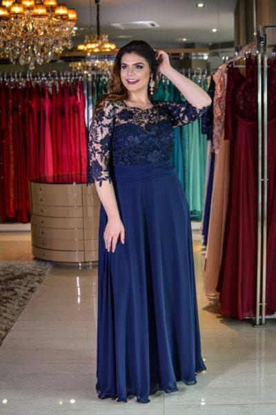 vestido de festa plus size azul