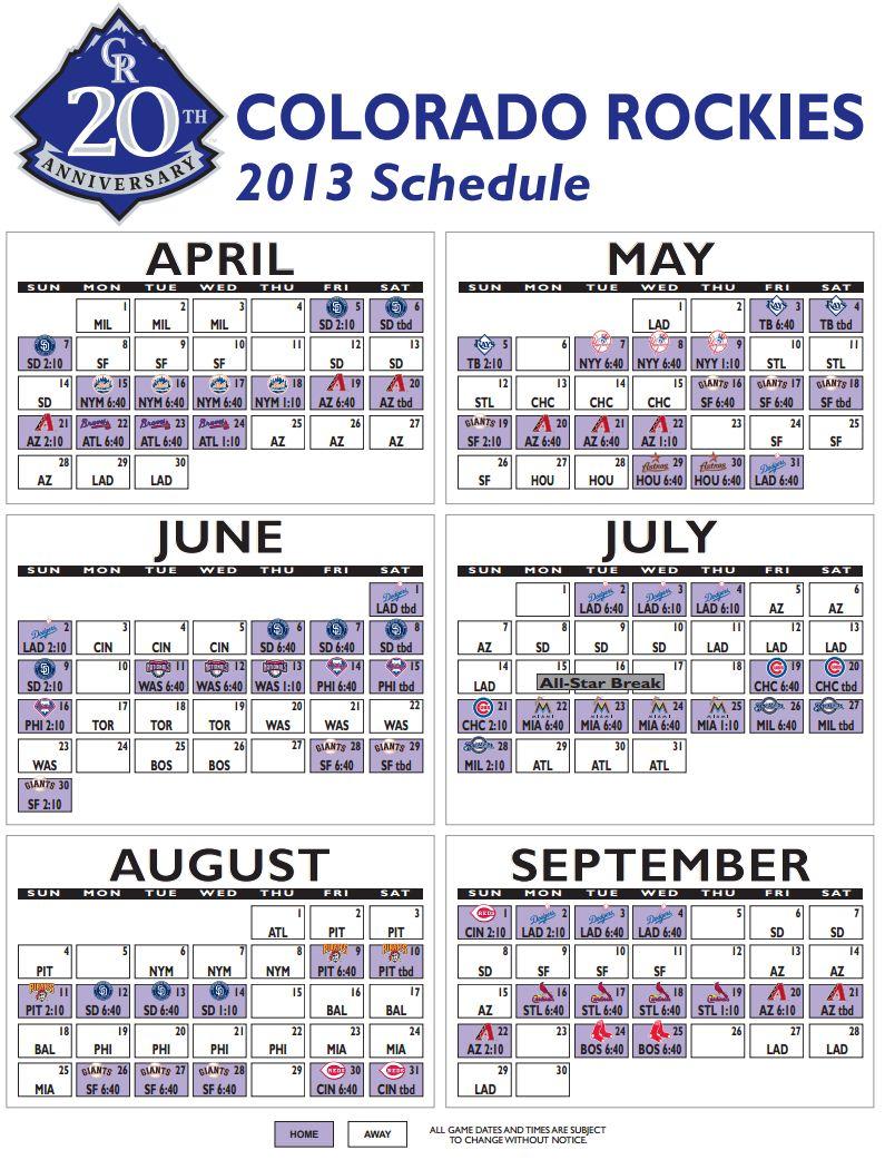 The Purple Rox: 2013 Schedule