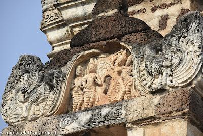 Wat Mahathat, Sukhothai - Tower near main chedi, relief with a Buddha's Birth scene