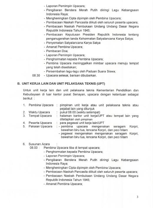 Surat Edaran Pedoman Penyelenggaraan Upacara Bendera HUT Ke-71 Kemerdekaan RI Tahun 2016 3