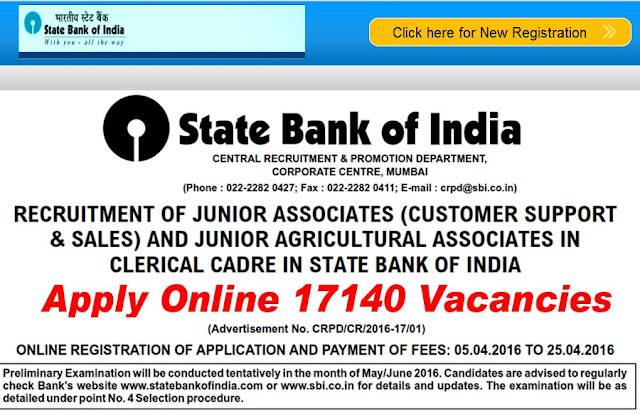 SBI Clerk Recruitment 2016 Notification and Online Application Form are now available on the main website of State Bank of India i.e., www.sbi.co.in.|How to apply for SBI Clerk Recruitment jobs|Notification for SBI Clerk Recruitment 2016/2016/04/sbi-clerk-recruitment-2016-notification17140-posts-online-application-form.html