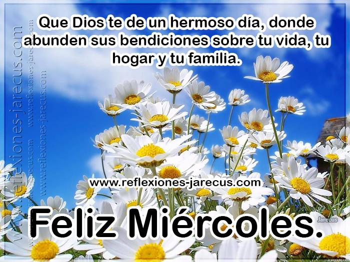 Feliz miércoles. Que Dios te de un hermoso día, donde abunden bendiciones sobre tu vida, tu hogar y tu familia.