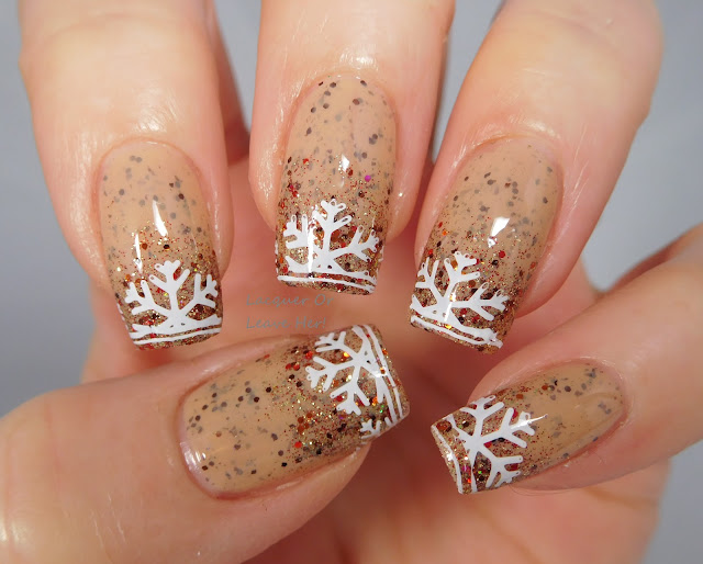 Born Pretty Store Harunouta L031 over Spellbound Nails Eggnog Latte and Gingerbread Latte
