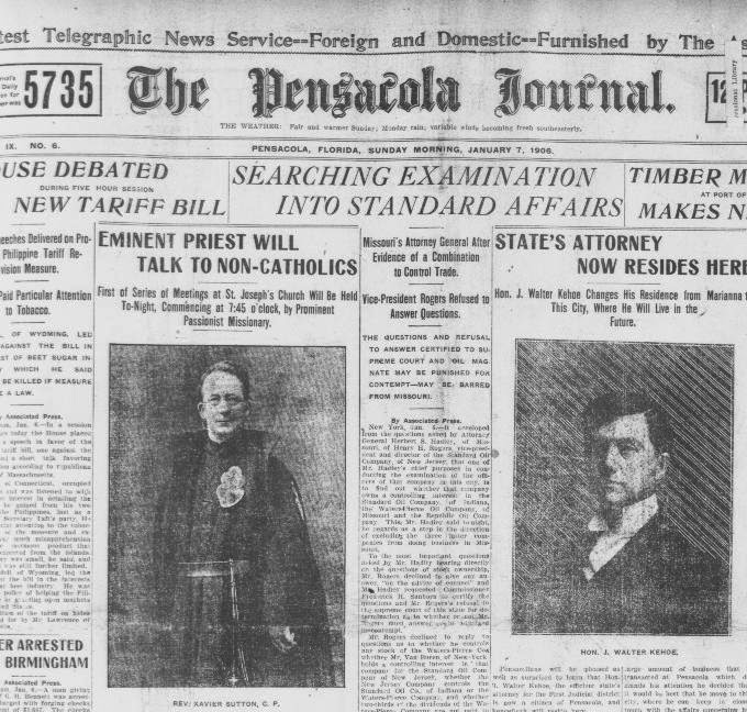 Partial view of the front page of a Jan. 7, 1906 newspaper