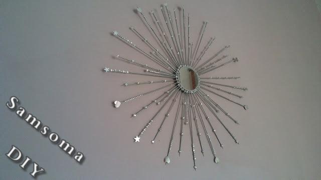 صنع مرآة الشمس . DIY Sun Mirror  .   صنع مرايا الشمس  من اعواد الخشب .  DIY : Sunburst Mirror