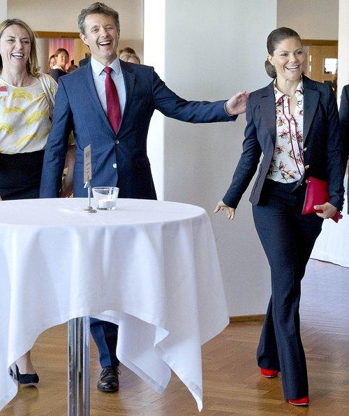 Crown Prince Frederik of Denmark and Crown Princess Victoria of Sweden visited the Strindberg Salen catering area at the Berzelii Park